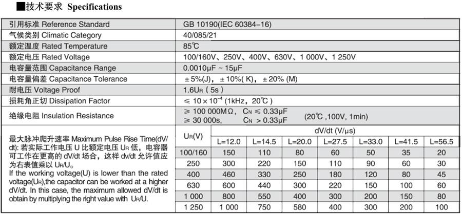 CBB20金属化聚丙烯膜电容器(轴向)